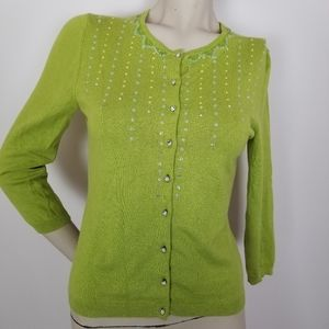 Express silk cashmere blend beaded green cardigan
